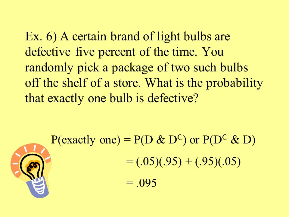 Ex. 6) A certain brand of light bulbs are defective five percent of the time.