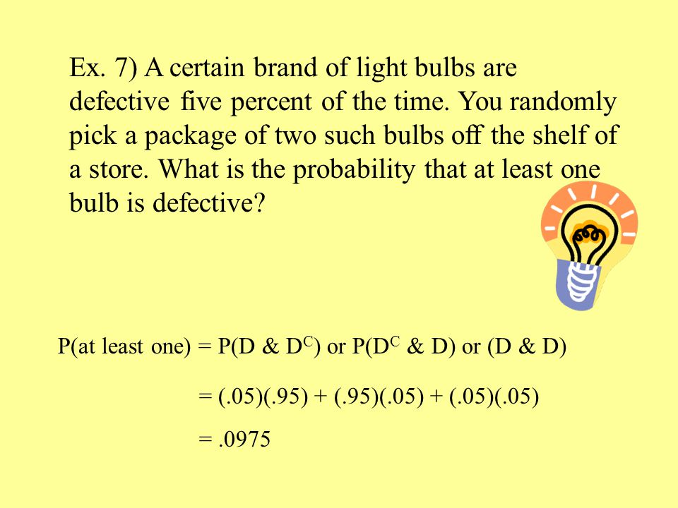 Ex. 7) A certain brand of light bulbs are defective five percent of the time.
