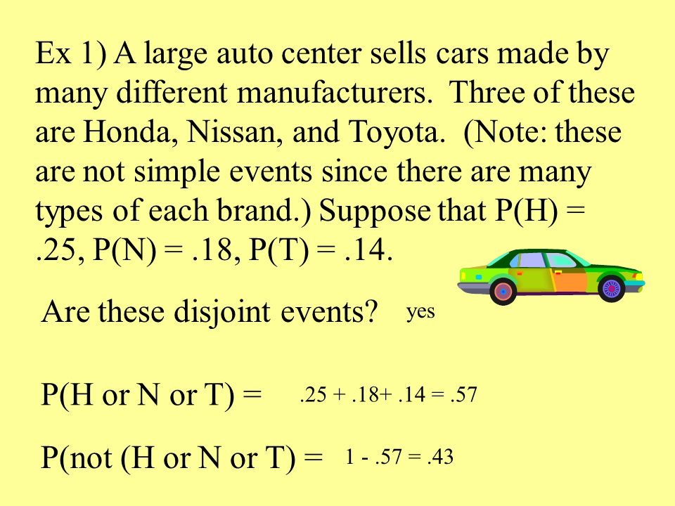 Ex 1) A large auto center sells cars made by many different manufacturers.
