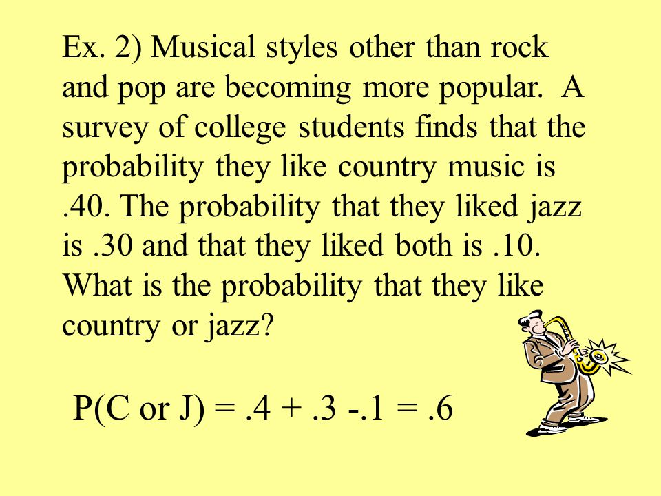 Ex. 2) Musical styles other than rock and pop are becoming more popular.