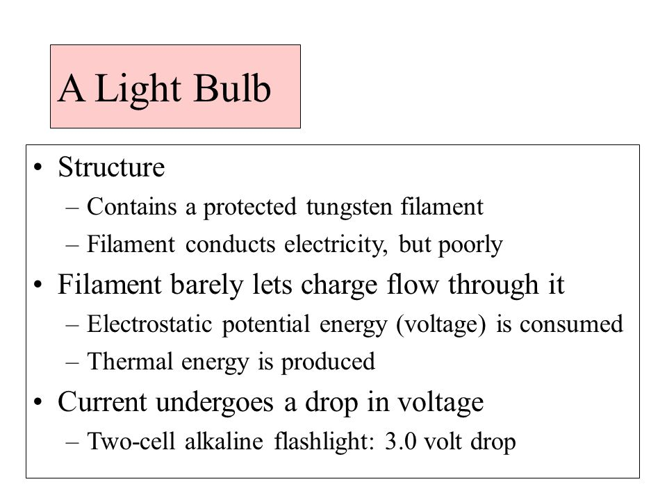 A Light Bulb Structure –Contains a protected tungsten filament –Filament conducts electricity, but poorly Filament barely lets charge flow through it –Electrostatic potential energy (voltage) is consumed –Thermal energy is produced Current undergoes a drop in voltage –Two-cell alkaline flashlight: 3.0 volt drop