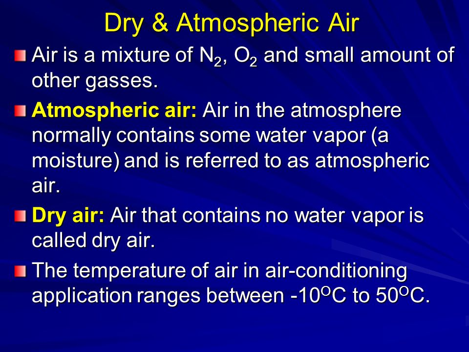 Taking 0 O C as reference temperature, enthalpy and enthalpy change of dry air can be determined from In air-conditioning processes we are concerned with the changes in the enthalpy.