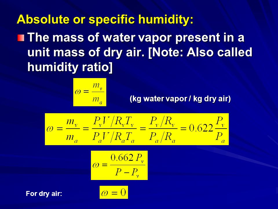 Saturated Air: There is a limit on the amount of vapor the air can hold at a given temperature.