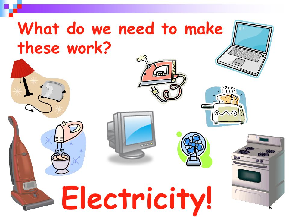5 What do we need to make these work Electricity!