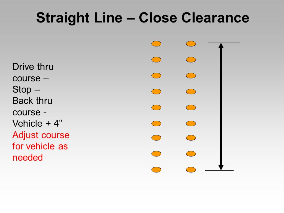 Light Bulb Reverse directions to increase difficulty Lane width set for test apparatus