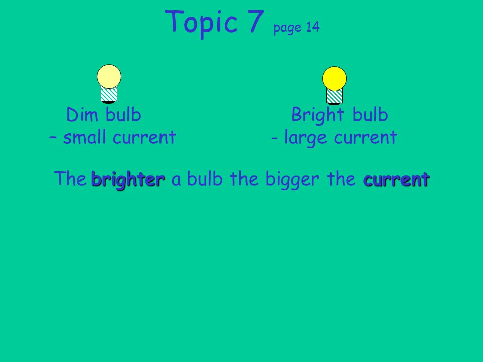 The a bulb the bigger the Topic 7 page 14 Dim bulb Bright bulb – small current - large current brightercurrent