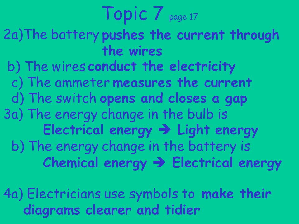 2a)The battery b) The wires c) The ammeter d) The switch 3a) The energy change in the bulb is b) The energy change in the battery is 4a) Electricians use symbols to Topic 7 page 17 pushes the current through the wires conduct the electricity measures the current opens and closes a gap Electrical energy  Light energy Chemical energy  Electrical energy make their diagrams clearer and tidier