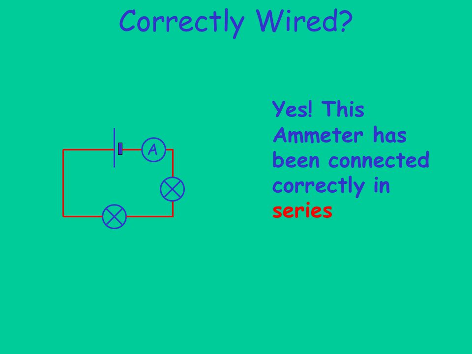Correctly Wired A Yes! This Ammeter has been connected correctly in series