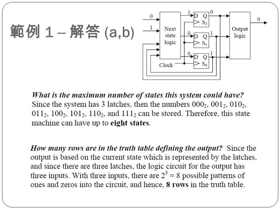 範例 1 -- 解答 (a,b)