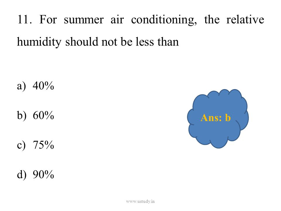 11. For summer air conditioning, the relative humidity should not be less than a)40% b)60% c)75% d)90% www.ustudy.in Ans: b