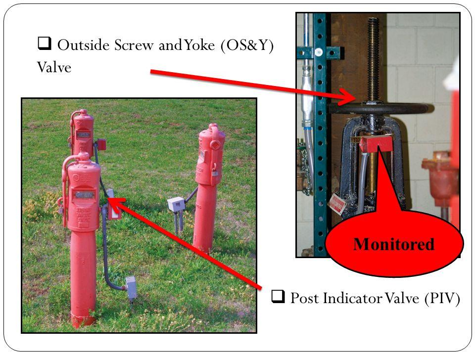  Outside Screw and Yoke (OS&Y) Valve  Post Indicator Valve (PIV) Monitored