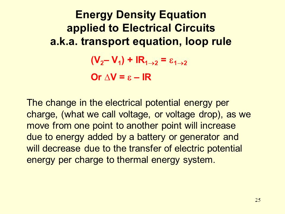 25 Energy Density Equation applied to Electrical Circuits a.k.a. transport equation, loop rule (V 2 – V 1 ) + IR 1  2 =  1  2 Or ∆V =  – IR The ch