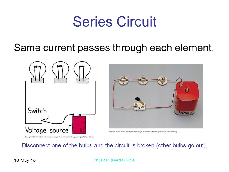 10-May-15 Physics 1 (Garcia) SJSU Series Circuit Same current passes through each element. Disconnect one of the bulbs and the circuit is broken (othe