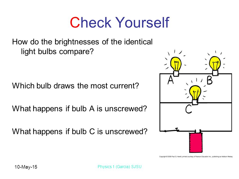 10-May-15 Physics 1 (Garcia) SJSU Check Yourself How do the brightnesses of the identical light bulbs compare? Which bulb draws the most current? What