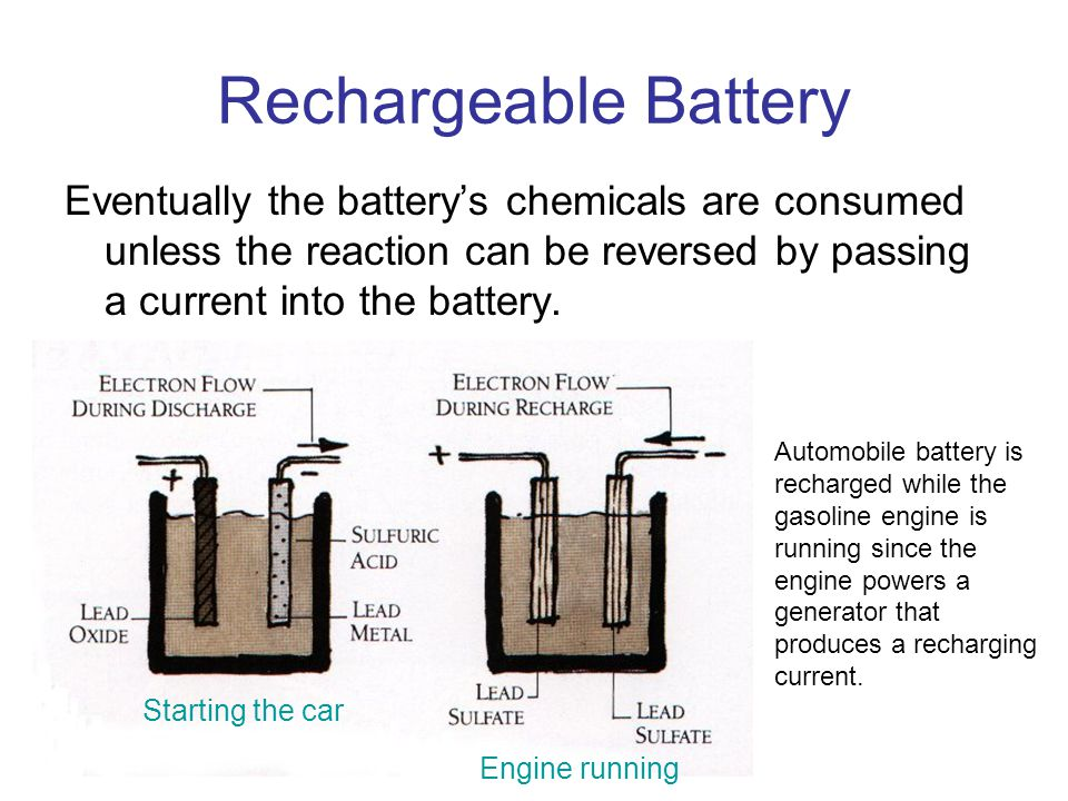 Rechargeable Battery Eventually the battery's chemicals are consumed unless the reaction can be reversed by passing a current into the battery. Automo