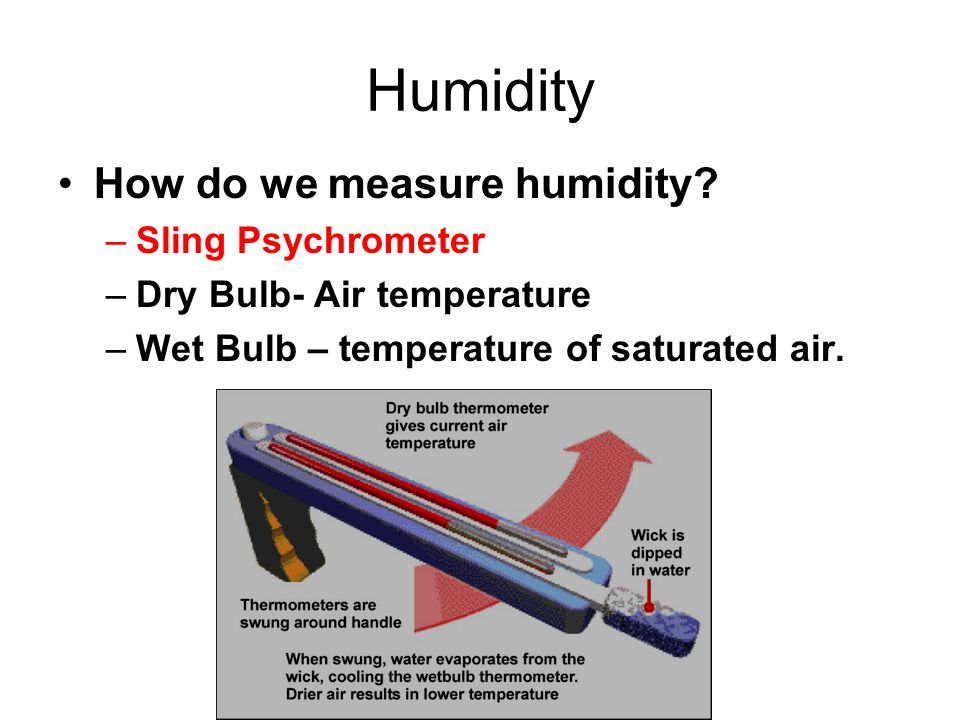 Humidity How do we measure humidity? –Sling Psychrometer –Dry Bulb- Air temperature –Wet Bulb – temperature of saturated air.