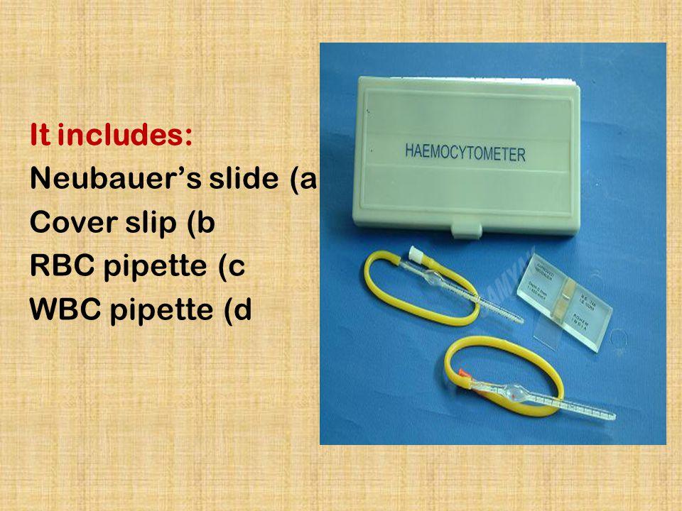 It includes: a)Neubauer's slide b)Cover slip c)RBC pipette d)WBC pipette