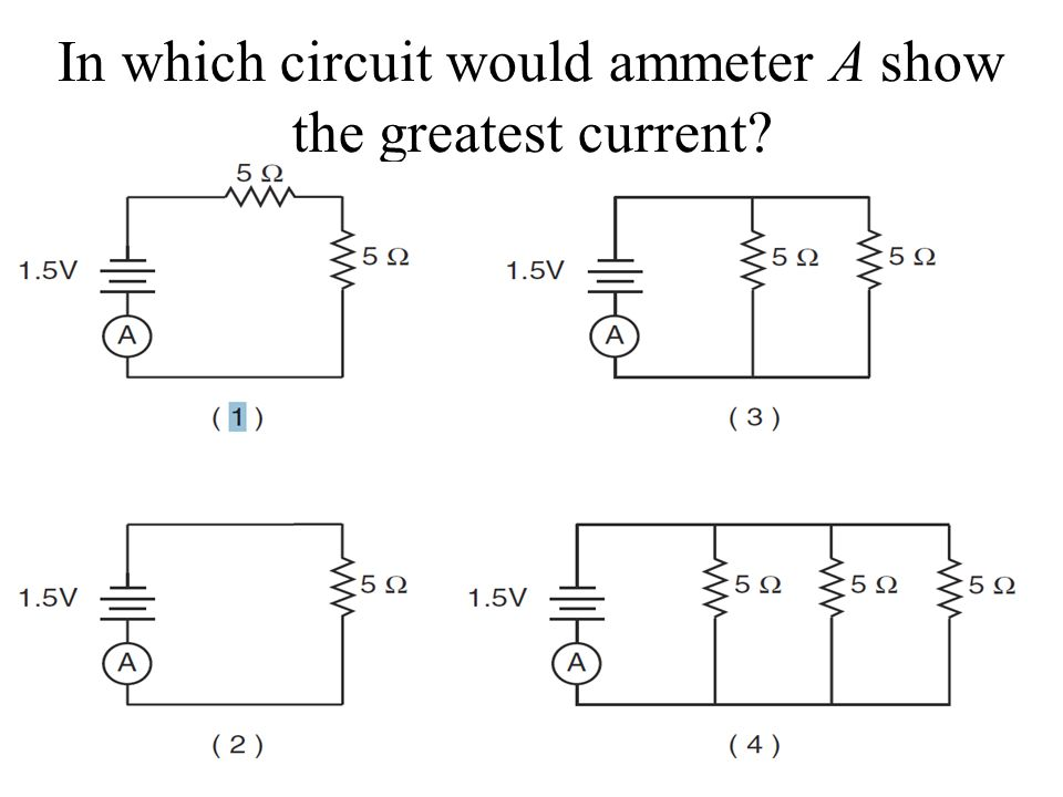 In which circuit would ammeter A show the greatest current