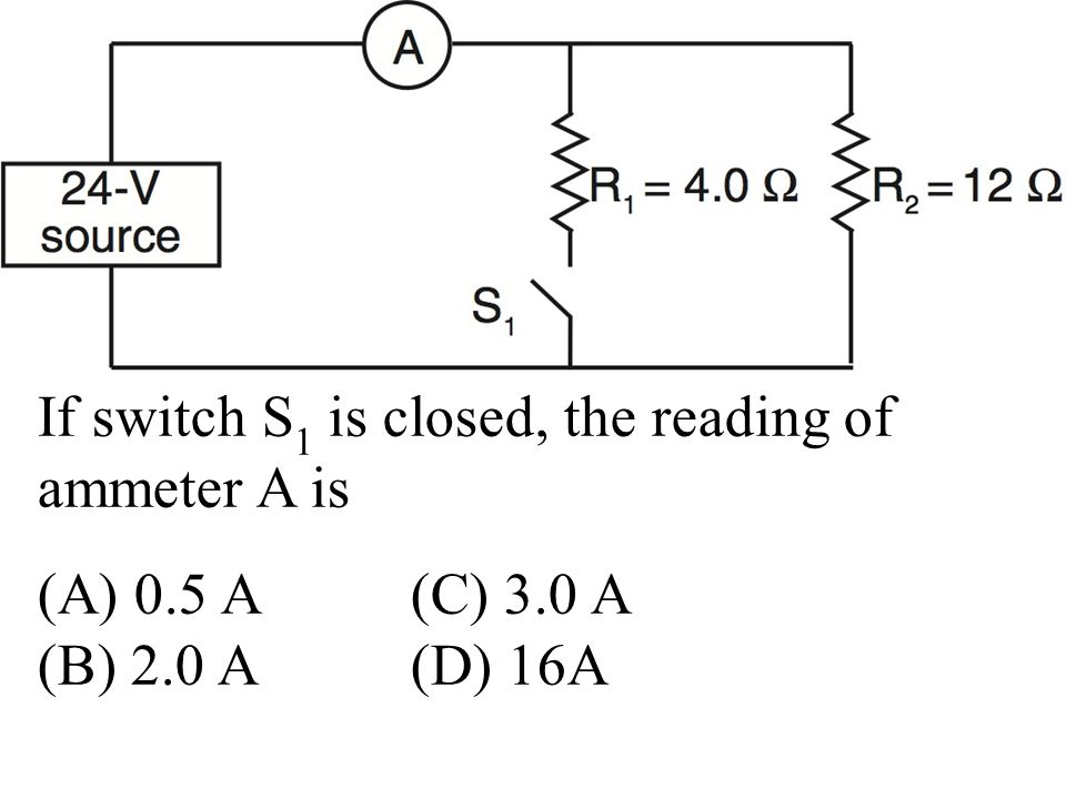 If switch S 1 is closed, the reading of ammeter A is (A) 0.5 A(C) 3.0 A (B) 2.0 A (D) 16A