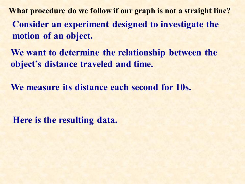 What procedure do we follow if our graph is not a straight line.