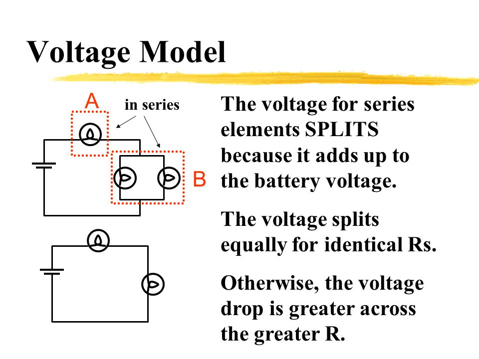 Voltage Model The voltage for series elements SPLITS because it adds up to the battery voltage.