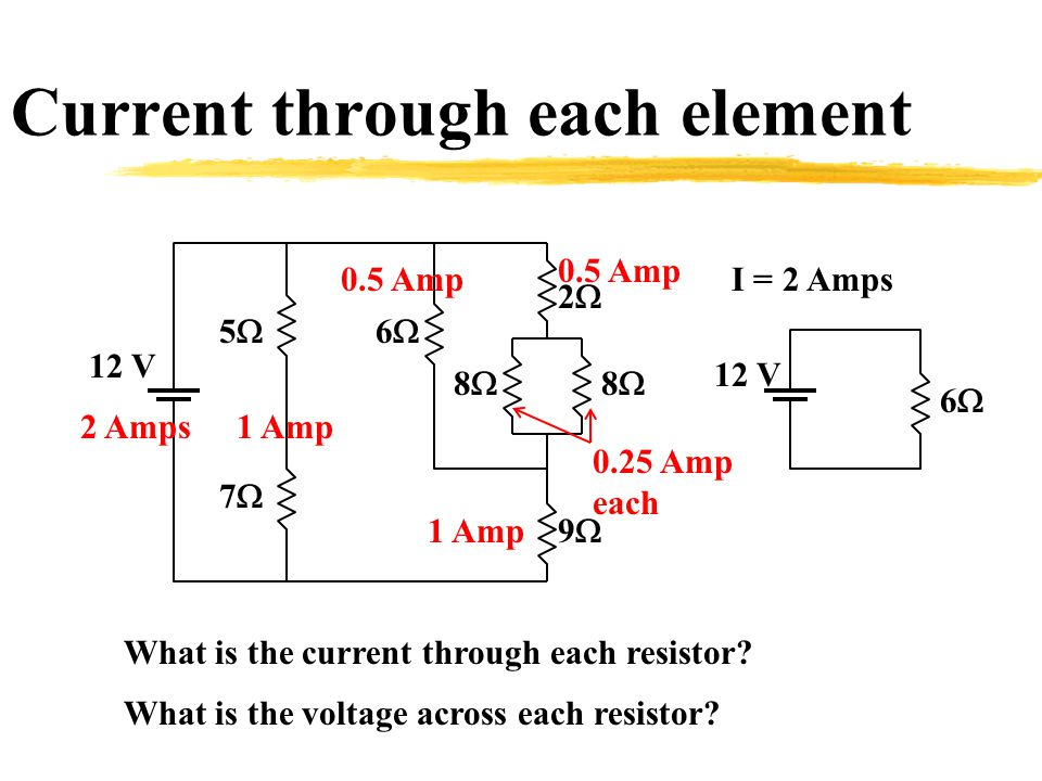 Current through each element 22 66 88 88 99 77 55 12 V 66 I = 2 Amps What is the current through each resistor.
