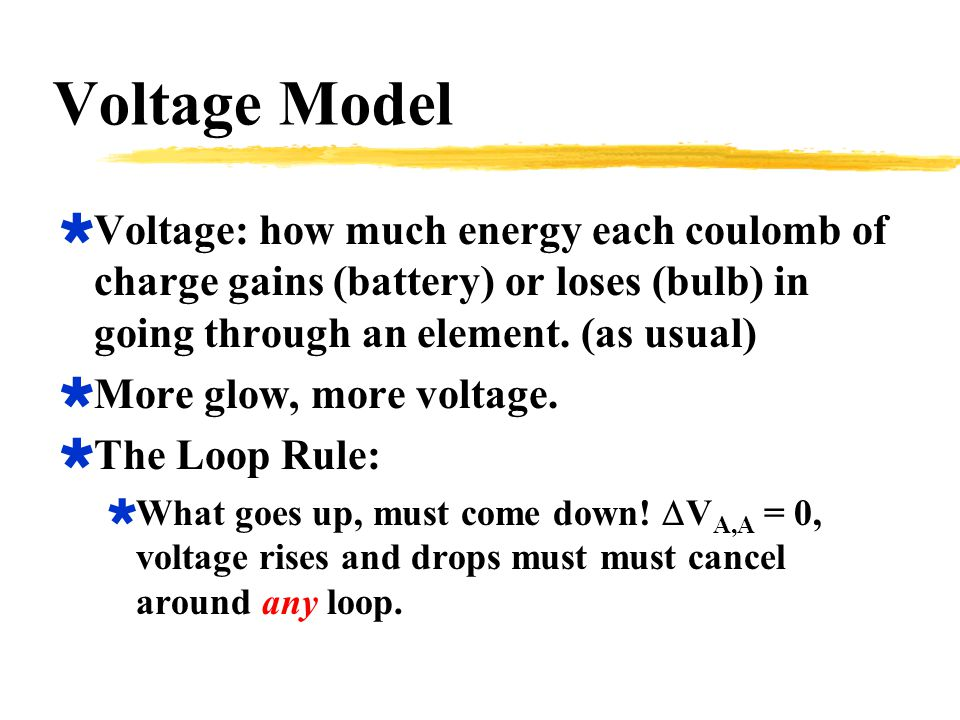 Voltage Model  Voltage: how much energy each coulomb of charge gains (battery) or loses (bulb) in going through an element.