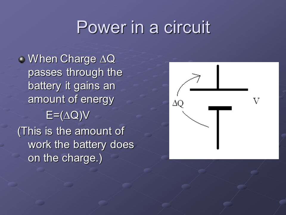 Power in a circuit When Charge  Q passes through the battery it gains an amount of energy E=(  Q)V (This is the amount of work the battery does on the charge.)