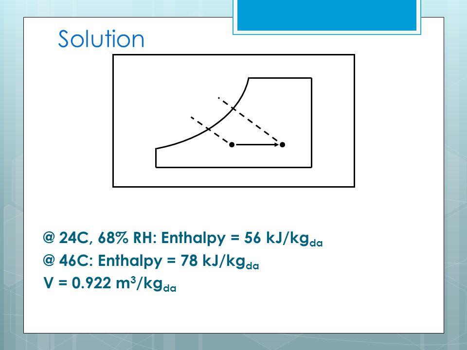 Solution @ 24C, 68% RH: Enthalpy = 56 kJ/kg da @ 46C: Enthalpy = 78 kJ/kg da V = 0.922 m 3 /kg da