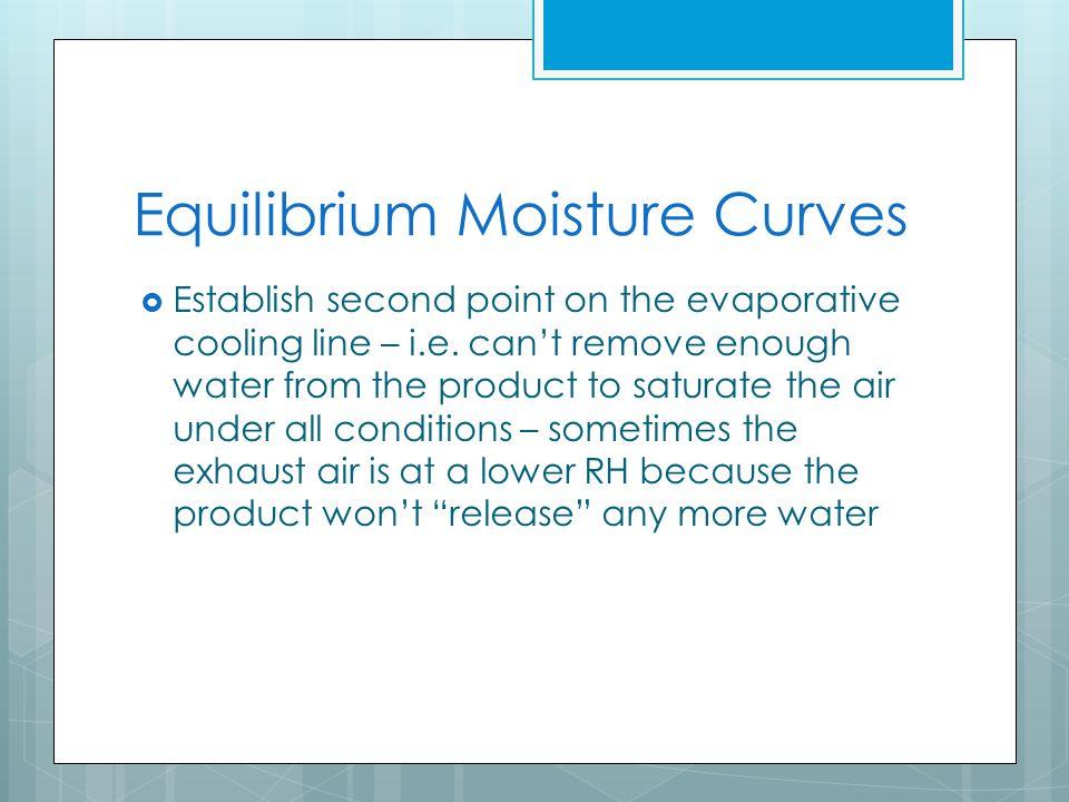 Equilibrium Moisture Curves  Establish second point on the evaporative cooling line – i.e.