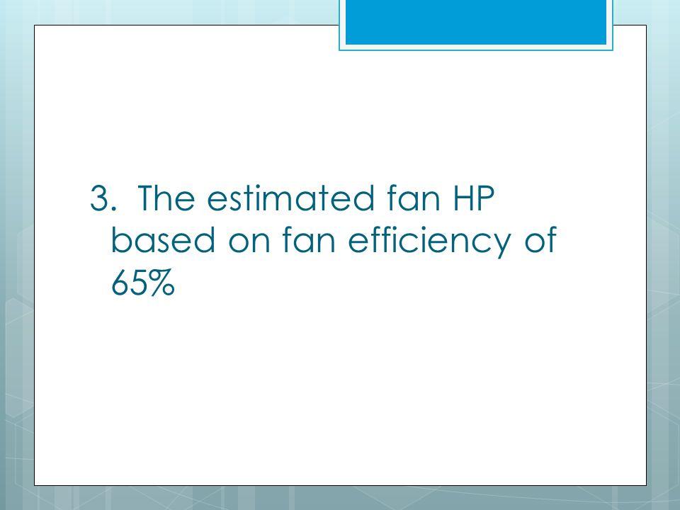 3. The estimated fan HP based on fan efficiency of 65%