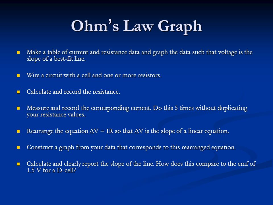 Ohm ' s Law Graph Make a table of current and resistance data and graph the data such that voltage is the slope of a best-fit line.