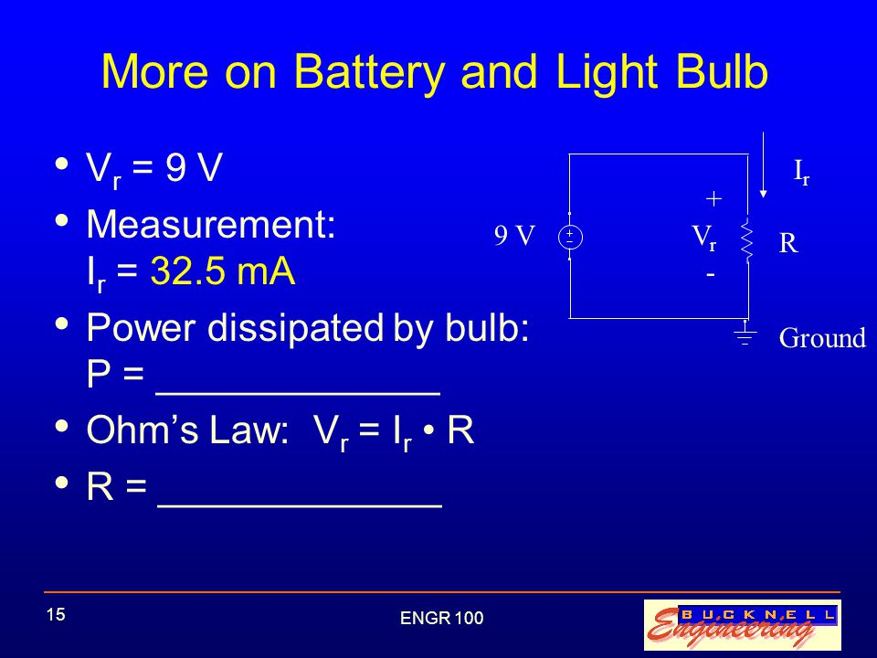 ENGR 100 15 More on Battery and Light Bulb V r = 9 V Measurement: I r = 32.5 mA Power dissipated by bulb: P = _____________ Ohm's Law: V r = I r R R = _____________ 9 V IrIr R + - VrVr Ground