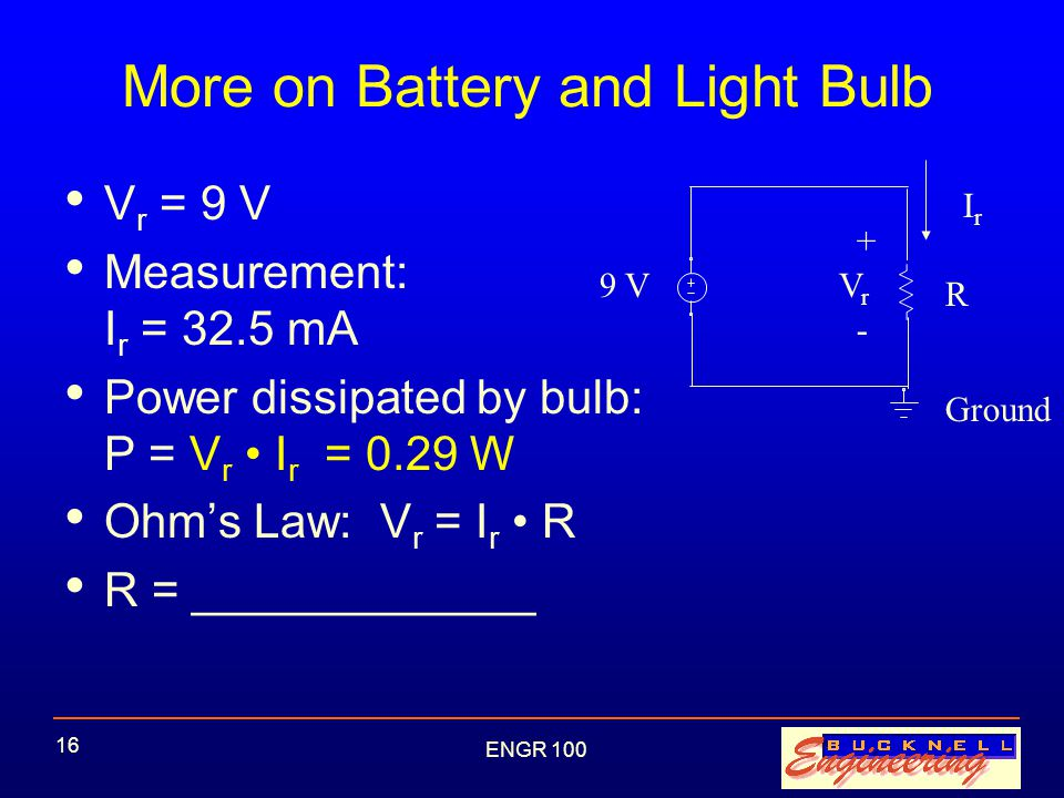 ENGR 100 16 More on Battery and Light Bulb V r = 9 V Measurement: I r = 32.5 mA Power dissipated by bulb: P = V r I r = 0.29 W Ohm's Law: V r = I r R R = _____________ 9 V IrIr R + - VrVr Ground