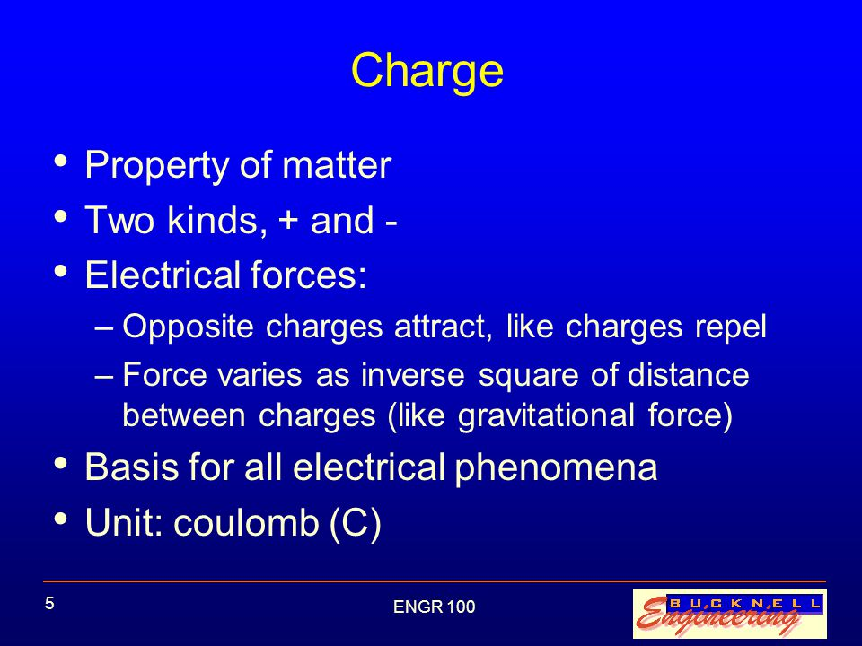 ENGR 100 6 Current Charges can move Current = flow rate of charge Unit: ampere (A) = C/s Example: –A battery is a supply of charges –Larger current drains the battery faster