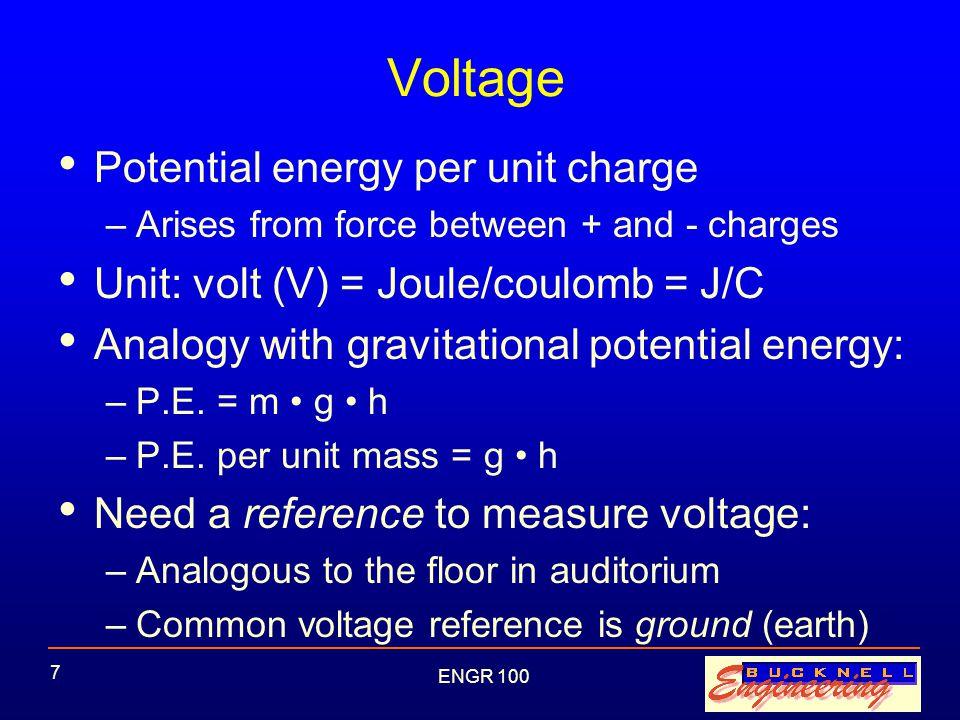 ENGR 100 28 Application: Light Dimmer Potentiometer (POT) = variable resistor as turn knob (from 0.2 ohms to 5,000 ohms) If R POT = 0.2 ohms: –V POT ~ _______ –V r ~ _______ If R POT = 5 k ohms: –V POT ~ _______ –V r ~ _______ 9 V +-V POT + - VrVr Battery R POT R = 277  Light Bulb