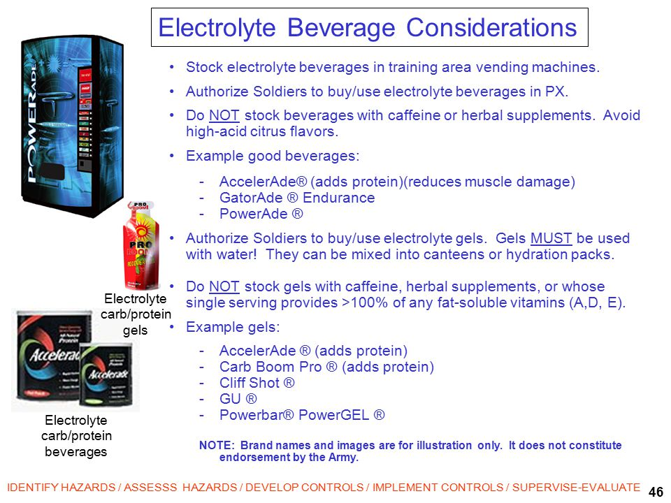 46 IDENTIFY HAZARDS / ASSESSS HAZARDS / DEVELOP CONTROLS / IMPLEMENT CONTROLS / SUPERVISE-EVALUATE Electrolyte carb/protein beverages Stock electrolyte beverages in training area vending machines.