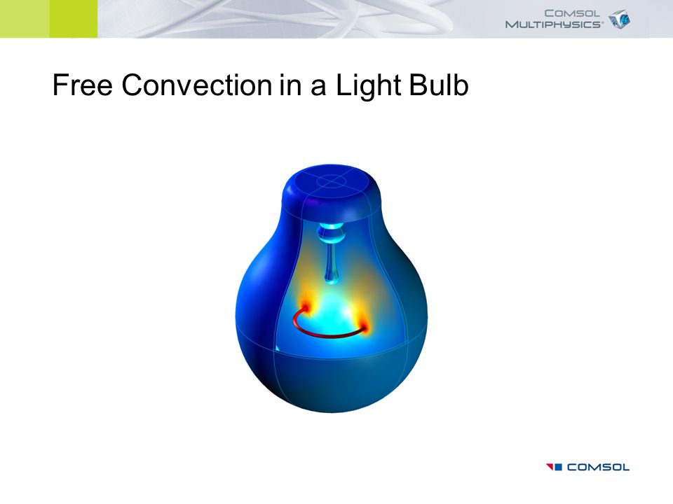 The model solves for the temperature distribution and the flow field inside a light bulb Axisymmetric model, accounts for conduction, convection, radiation and nonisothermal flow Model shows how to model free convection, how to treat ideal gasses, and how to model radiation