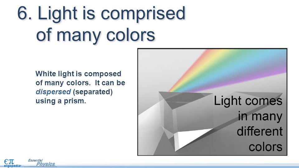 White light is composed of many colors. It can be dispersed (separated) using a prism. 6. Light is comprised of many colors