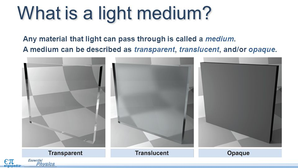Any material that light can pass through is called a medium. A medium can be described as transparent, translucent, and/or opaque. What is a light med