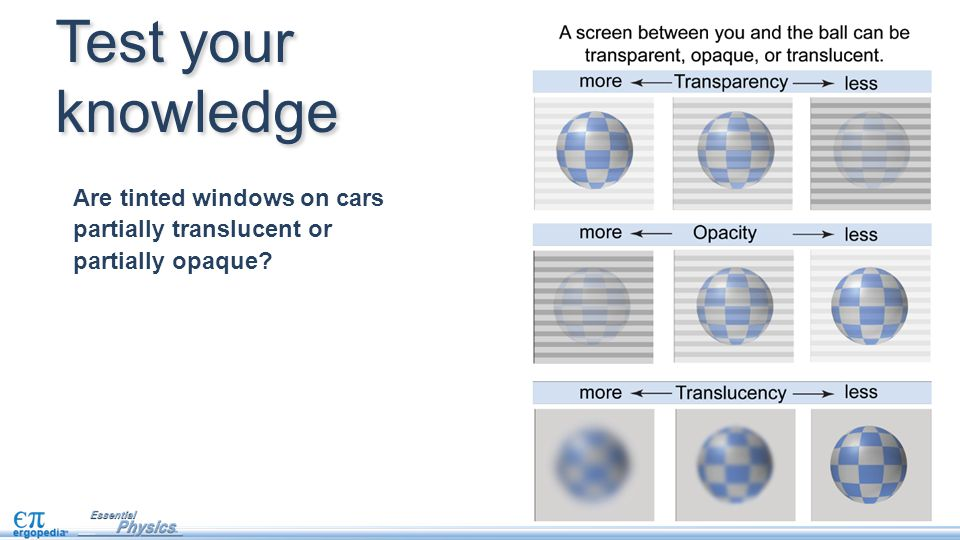 Test your knowledge Are tinted windows on cars partially translucent or partially opaque?