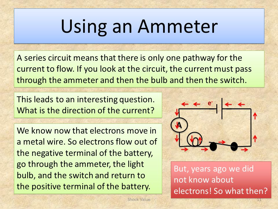 Using an Ammeter Shock Value11 A series circuit means that there is only one pathway for the current to flow.