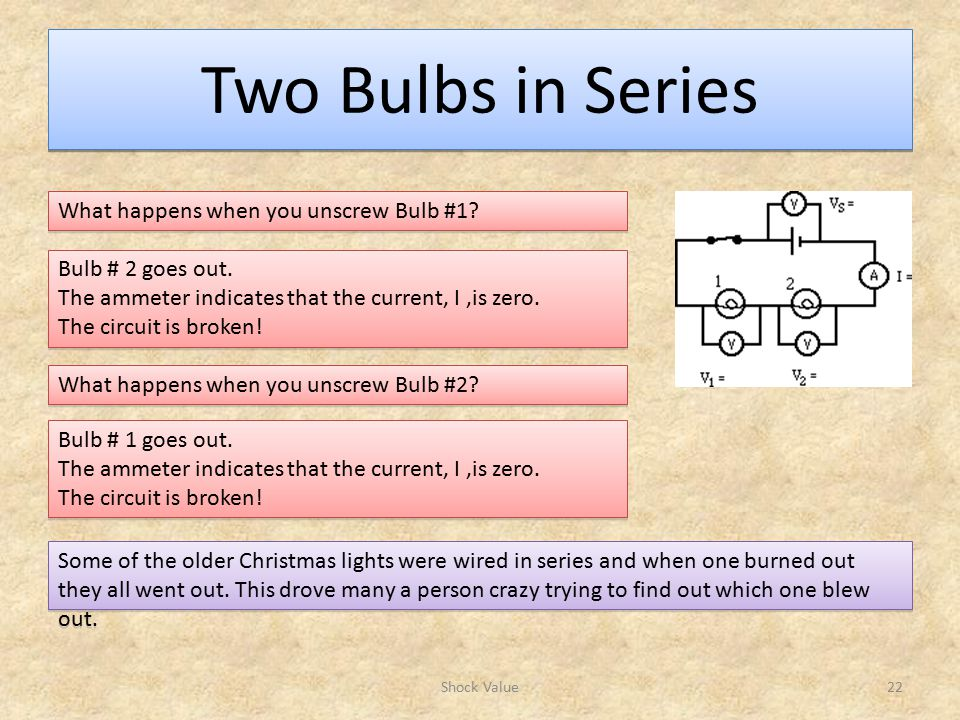 Two Bulbs in Series Shock Value22 What happens when you unscrew Bulb #1.