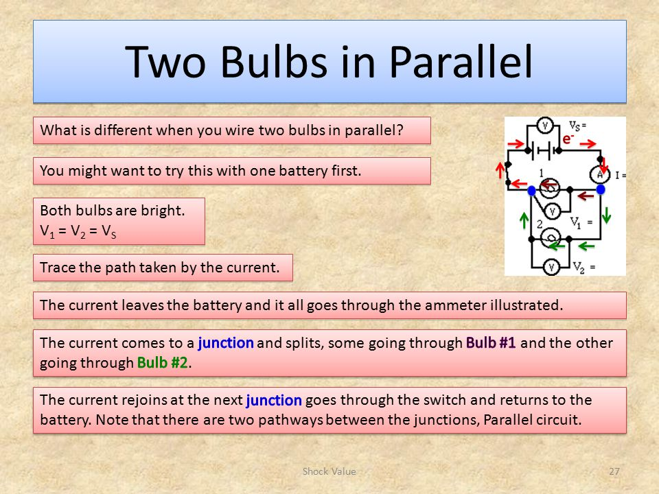 Two Bulbs in Parallel Shock Value27 What is different when you wire two bulbs in parallel.