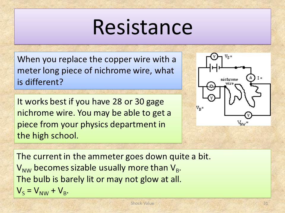 Resistance Shock Value31 When you replace the copper wire with a meter long piece of nichrome wire, what is different.