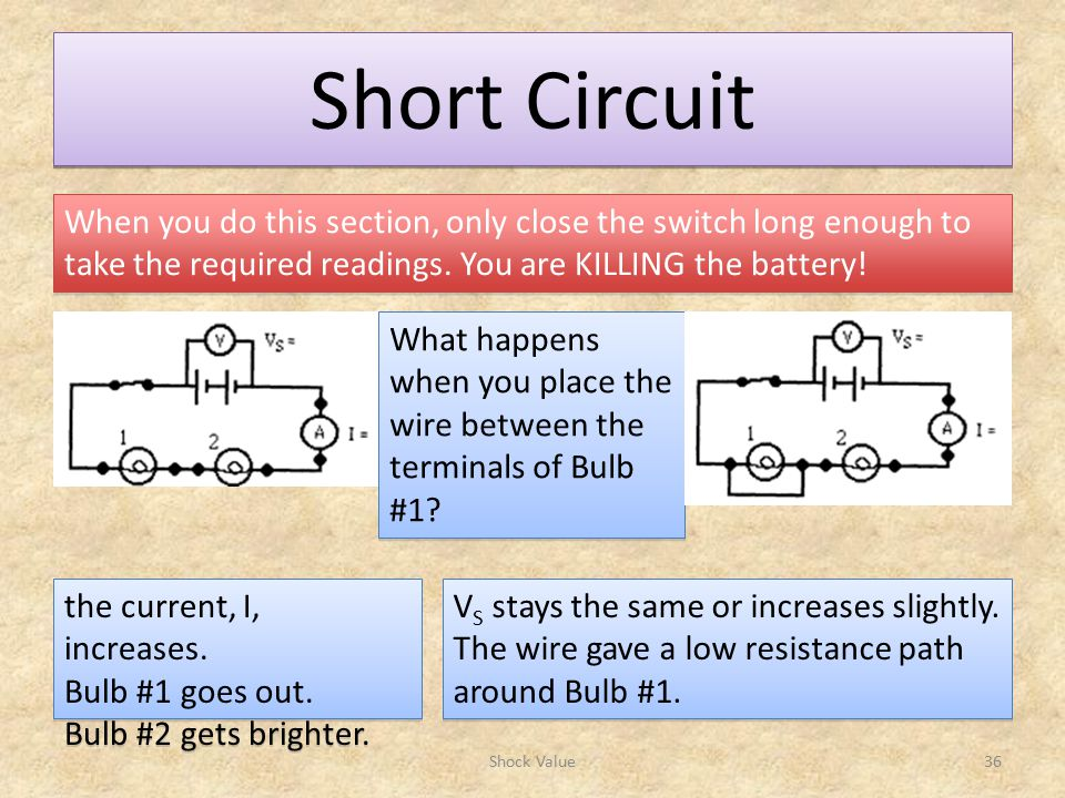 Short Circuit Shock Value36 When you do this section, only close the switch long enough to take the required readings.