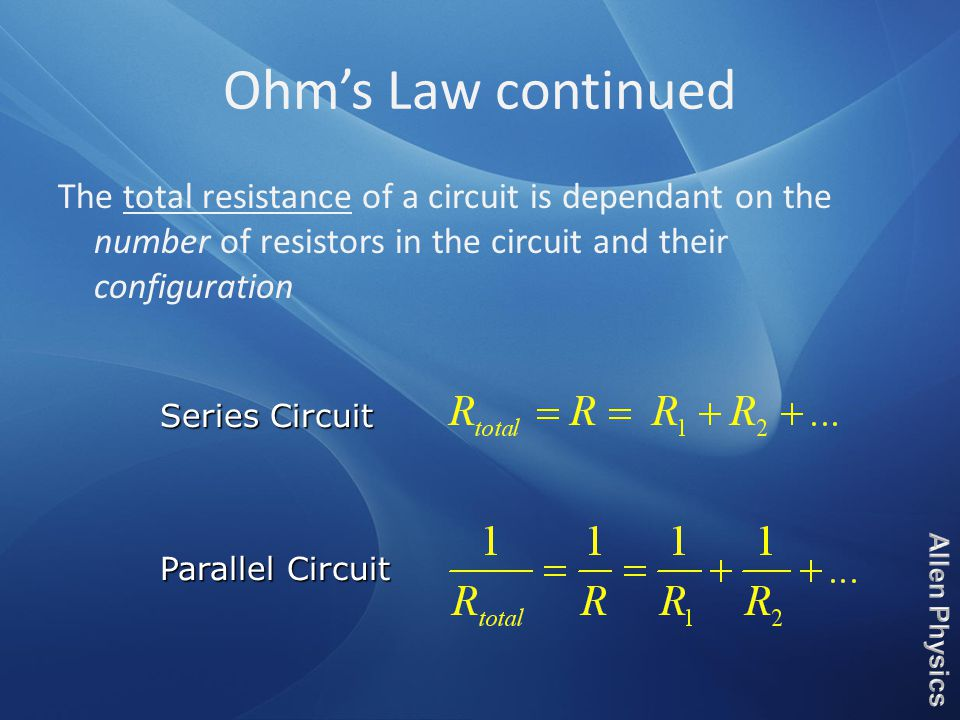 The total resistance of a circuit is dependant on the number of resistors in the circuit and their configuration Series Circuit Parallel Circuit