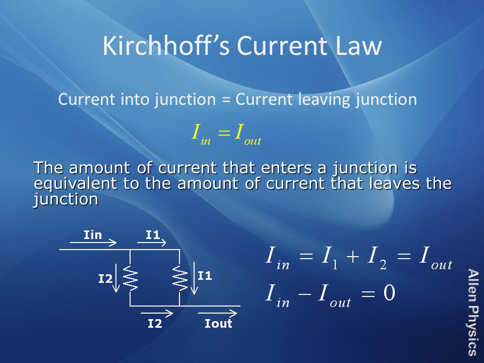 Kirchhoff's Current Law Current into junction = Current leaving junction The amount of current that enters a junction is equivalent to the amount of current that leaves the junction