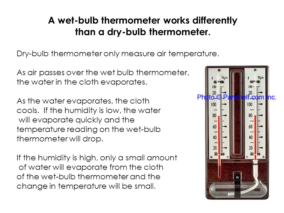 A wet-bulb thermometer works differently than a dry-bulb thermometer.