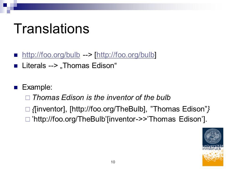 "10 Translations http://foo.org/bulb --> [http://foo.org/bulb] http://foo.org/bulb Literals --> ""Thomas Edison Example:  Thomas Edison is the inventor of the bulb  {[inventor], [http://foo.org/TheBulb], Thomas Edison }  'http://foo.org/TheBulb'[inventor->>'Thomas Edison']."